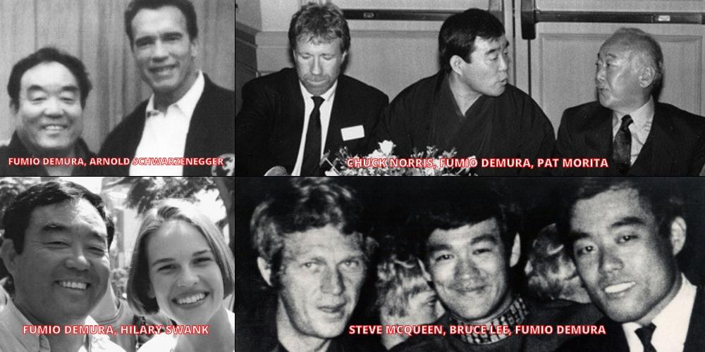 Fumio-Demura-Arnold-Schwarzenegger-Chuck-Norris-Pat-Morita-Hilary-Swank-Steve-Mcqueen-Bruce-Lee